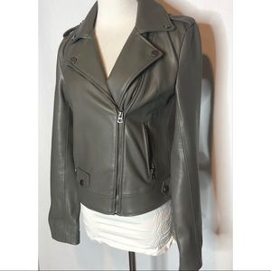 Lucky Brand Gray Faux Leather Moto Style Jacket xs